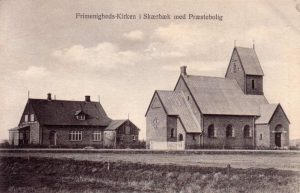 postkort med Skærbæk Frimenighedskirke
